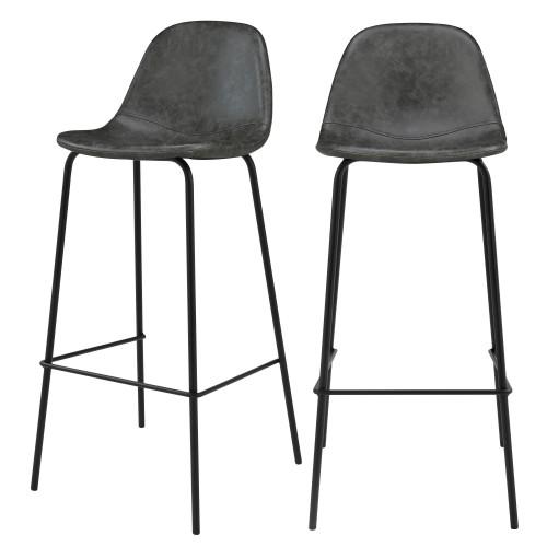 Chaise de bar Henrik grise/noire 75 cm (lot de 2)