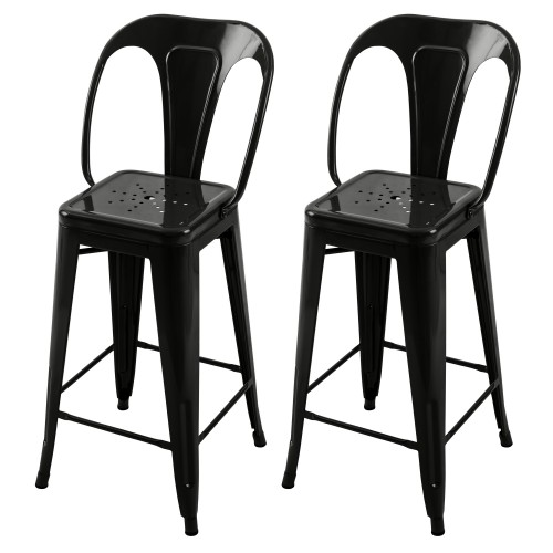 Chaise de bar mi-hauteur Indus noire 66 cm (lot de 2)