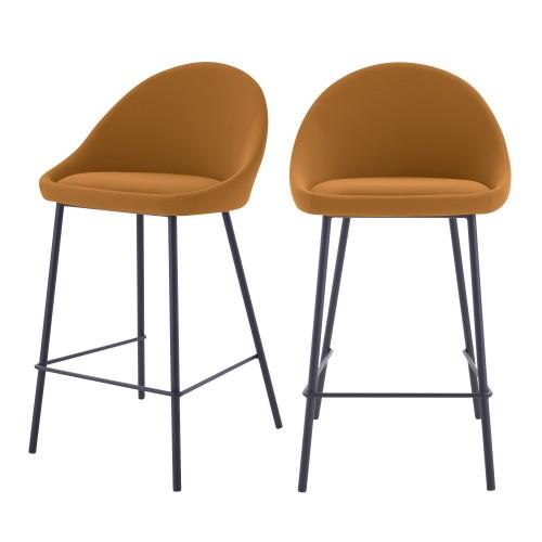 acheter chaise de bar ocres dossier arrondi lot de 2