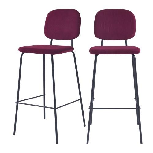 acheter chaise de bar prune velours design lot de deux