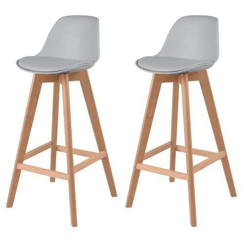 Chaise de bar Skandi grise (lot de 2)