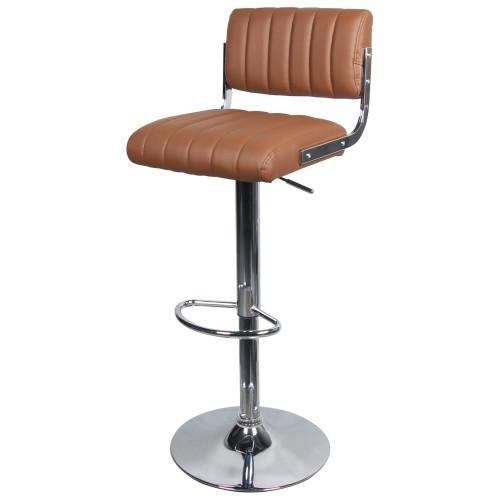 Tabouret De Bar Simili Cuir.Chaise De Bar Houston Marron 65 87 Cm