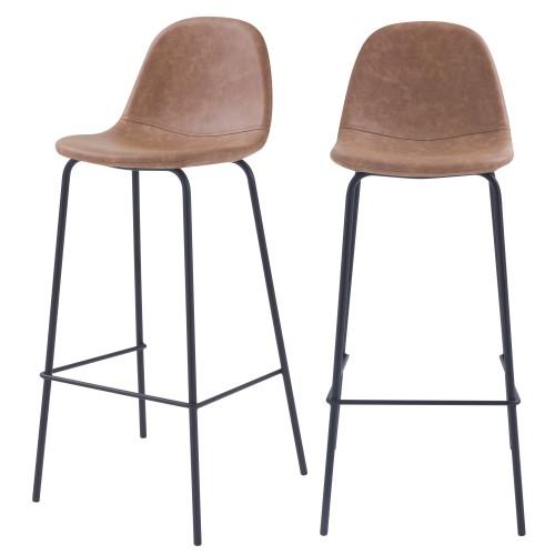 acheter chaise de bar taupe cuir synthetique confortable lot de 2
