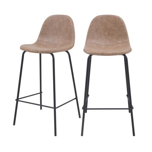 acheter chaise de bar taupe cuir synthetique lot de 2