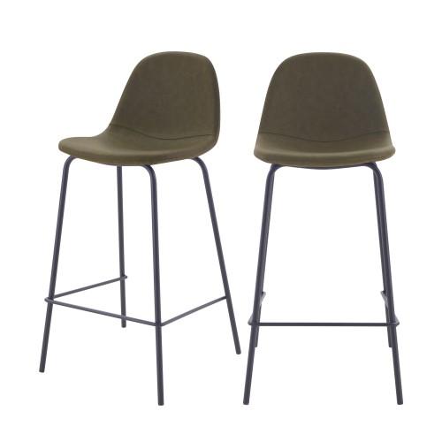 acheter chaise de bar vert kaki en cuir synhetique lot de 2