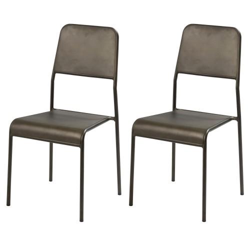 Chaise Exon en métal gris (lot de 2)