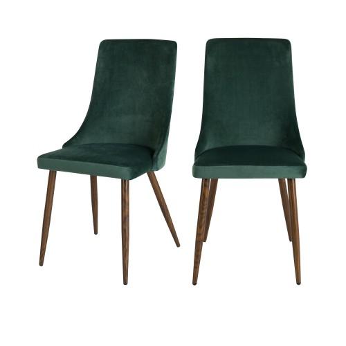 acheter chaise de repas verte en velours lot de 2