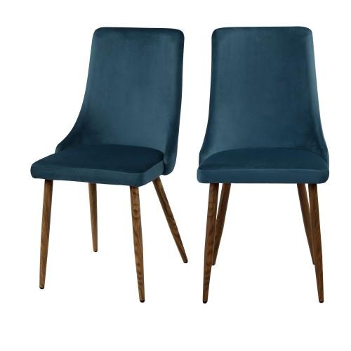 acheter chaise de salle a manger bleues lot de 2