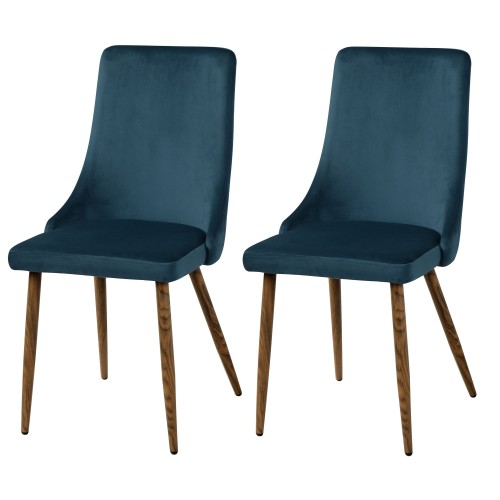 Chaise Vinni en velours bleu (lot de 2)