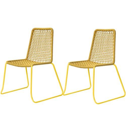 acheter chaise en corde tressee jaune design