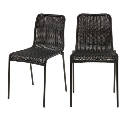 acheter chaise en resine tresse noire lot de 2