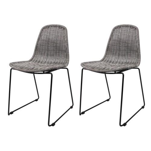 acheter chaise en resine tressee grise lot de 2
