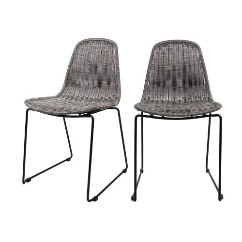 acheter chaise en resine tressee grise pieds metal lot de deux