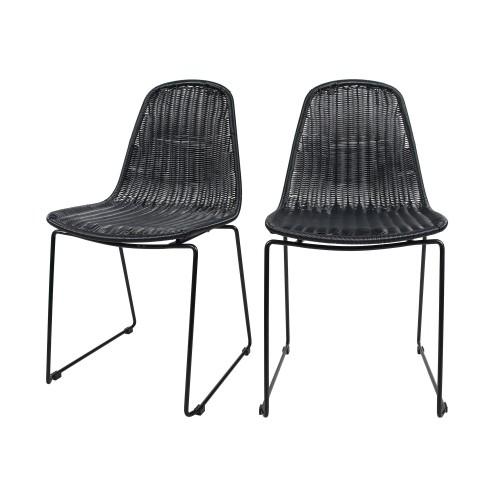 acheter chaise en resine tressee noire interieur exterieur lot de deux