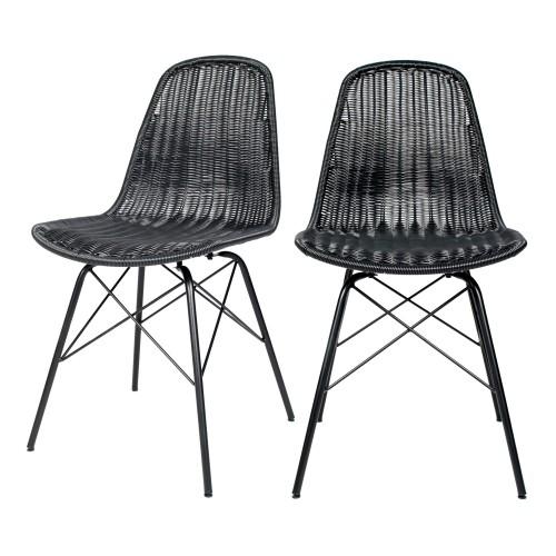 acheter chaise en resine tressee noire