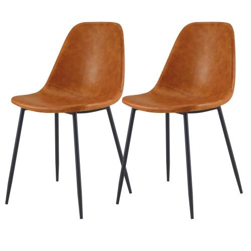 acheter chaise en simili cuir camel lot de 2