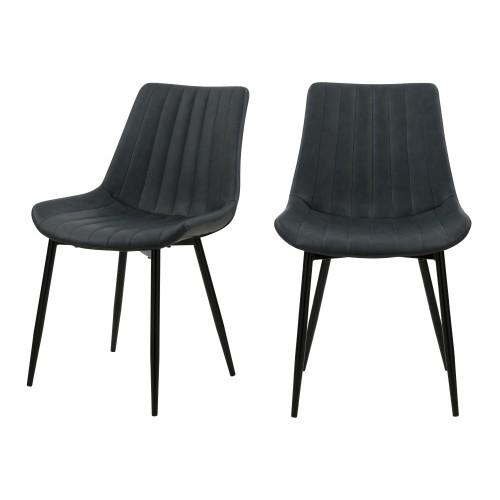 acheter chaise en simili gris fonce pieds metal lot de 2