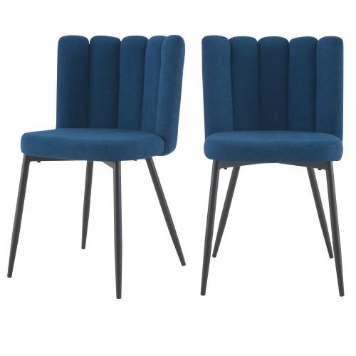 acheter chaise en tissu chine bleu