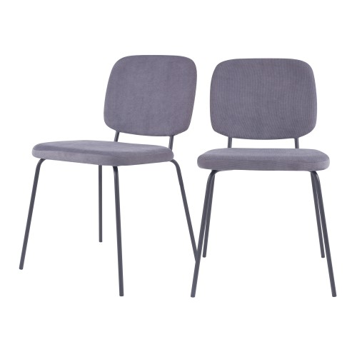 acheter chaise en velours cotele grise lot de 2