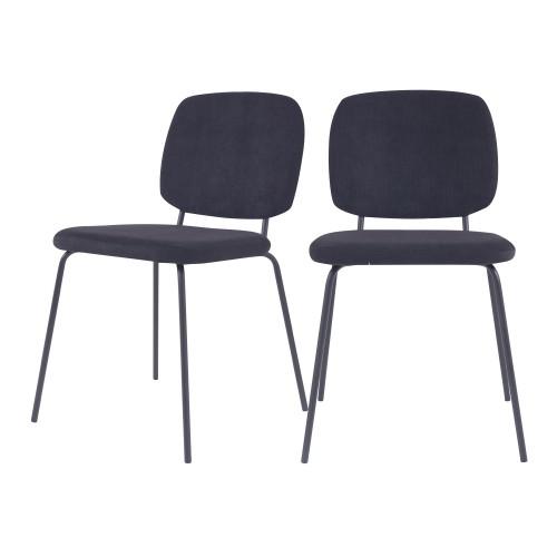 acheter chaise en velours cotele noir lot de 2