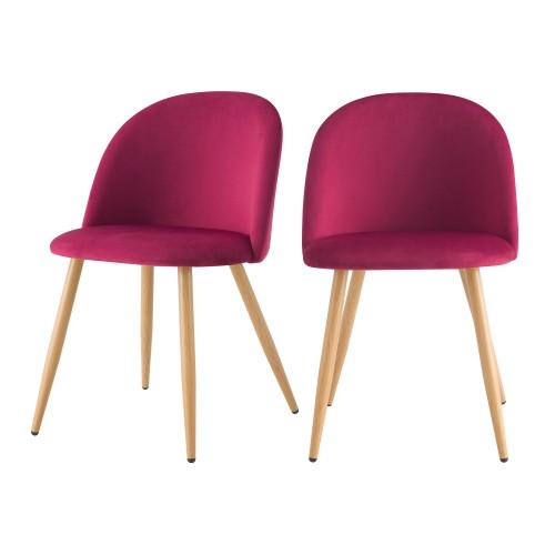 acheter chaise en velours fushia scandi lot de 2