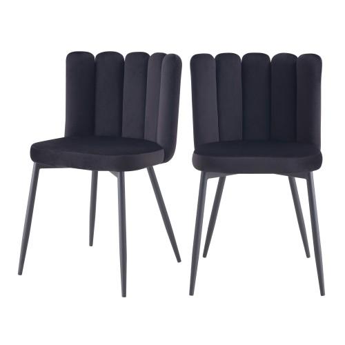 acheter chaise en velours noir style art deco