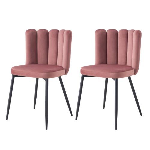 acheter chaise en velours rose art deco