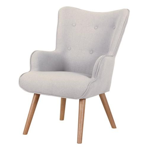 acheter chaise fauteuil tissu pieds bois clair