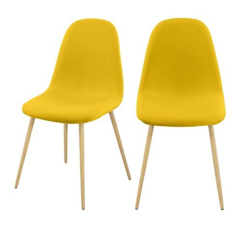 acheter chaise jaune en tissu scandi lot de 2