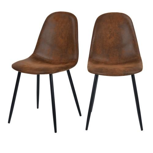 acheter chaise lot de 2 en microfibre marron