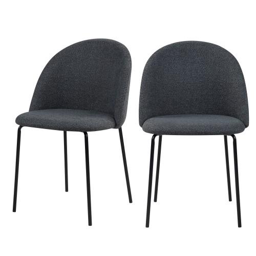 acheter chaise lot de 2 gris fonce