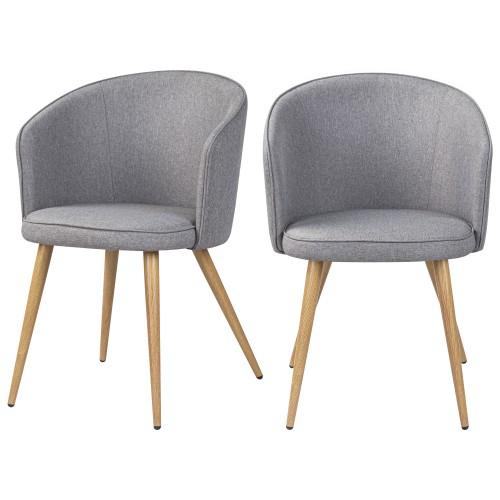 acheter chaise lot de 2 grises claires