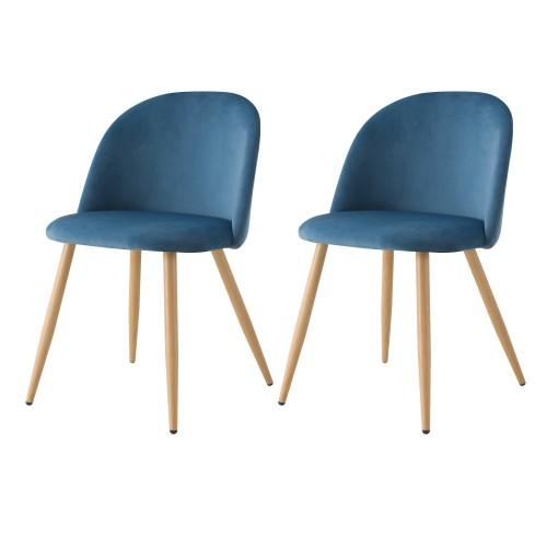 acheter chaise lot de 2 scandinave bleu velours