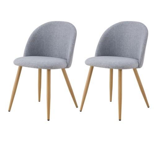 Chaise Cozy en tissu gris clair (lot de 2)