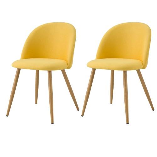 Chaise Cozy en tissu jaune (lot de 2)