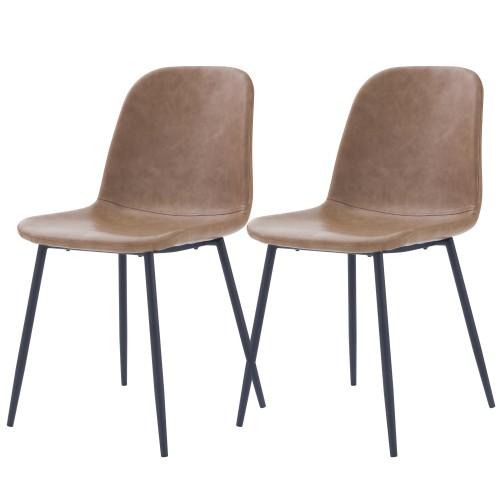 acheter chaise lot de 2 synthetique marron clair