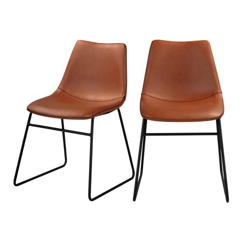 acheter chaise marron simili cuir vintage lot de 2