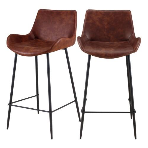 acheter chaise mi-hauteur marron fonce pieds noirs lot de 2