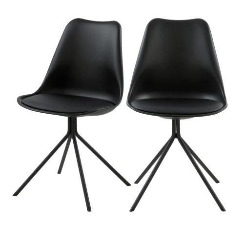 acheter chaise noir confortable lot de 2
