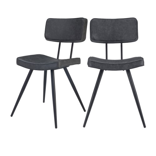 Chaise Texas grise/noire (lot de 2)