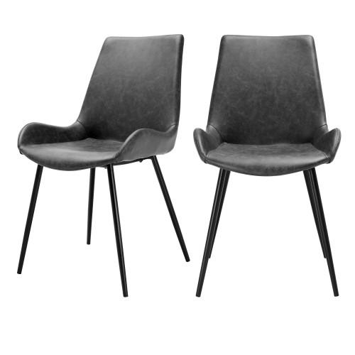 acheter chaise noire delavee cuir synthetique lot de 2