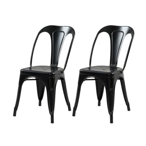 acheter chaise noire lot de 2 metal