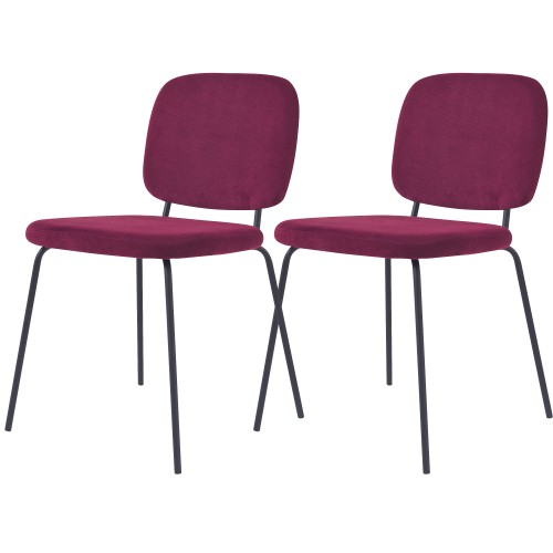 Chaise Jade en velours côtelé prune (lot de 2)