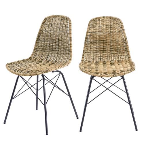 acheter chaise resine tressee naturelle lot de 2