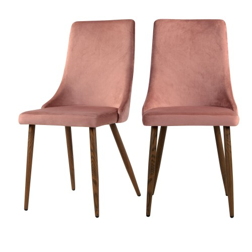 acheter chaise rose en velours lot de 2