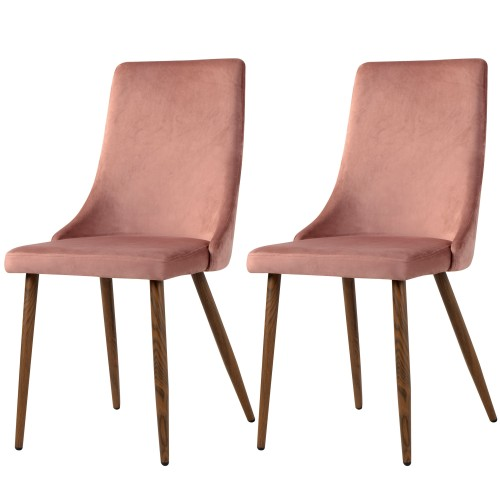 Chaise Vinni en velours rose (lot de 2)