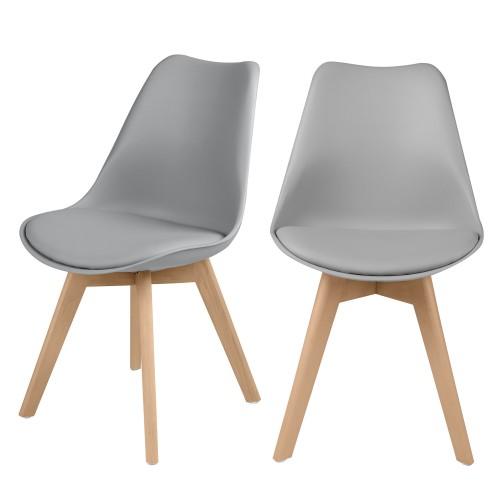 acheter chaise scandi gris clair lot de 2