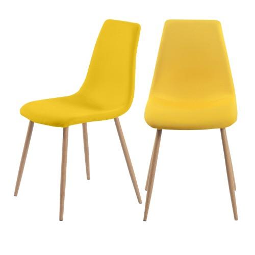 acheter chaise scandi tissu jaune et bois lot de 2