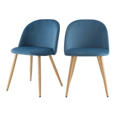 acheter chaise scandinave bleu velours lot de deux