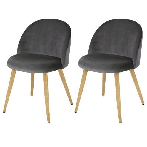 achat chaise en velours grise lot de 2